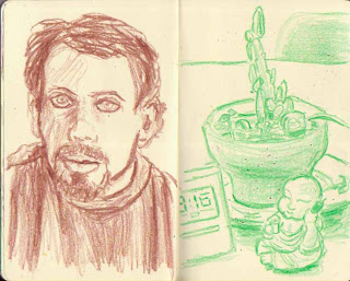 sketchbook crayon drawings by Scott DuBar