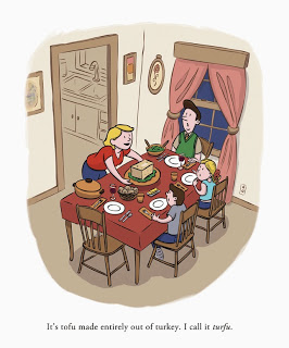 Tofu turkey Thanksgiving by illustrator Scott DuBar