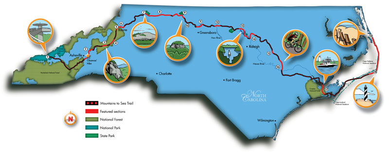mountains to sea trail map