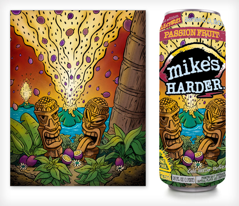 Mike's HARDER Passion Fruit illustration by Scott DuBar