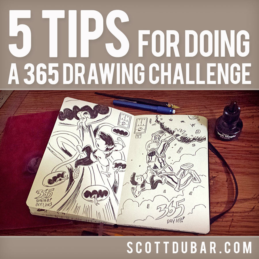 Illustrator Scott DuBar's five tips for how to successfully complete a daily drawing challenge.