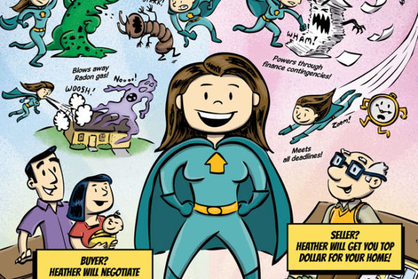 Heather Griffith, Wonder Realtor part 3. Comic book style ad for C-ville Weekly