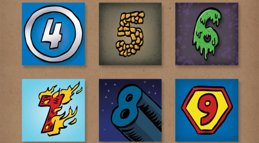Comic Book Style Numbers | Client: SCBWI