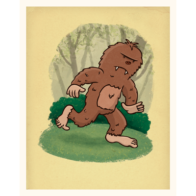 Bigfoot art print by illustrator Scott DuBar