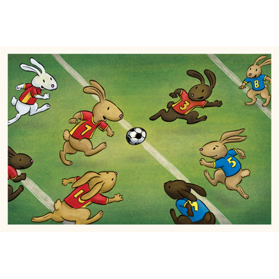 Bunny Soccer art print by illustrator Scott DuBar