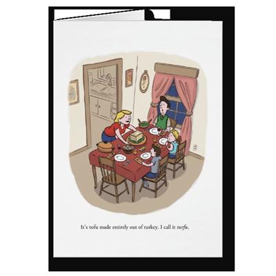 Anti-Tofurky Thanksgiving greeting card by illustrator Scott DuBar