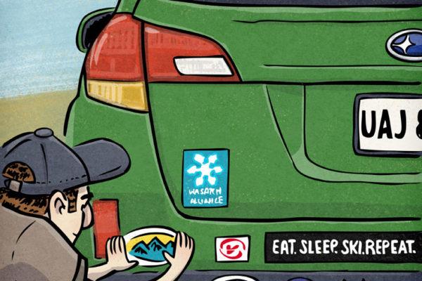 Put A Sticker On It   Client: Utah Adventure Journal   by illustrator Scott DuBar