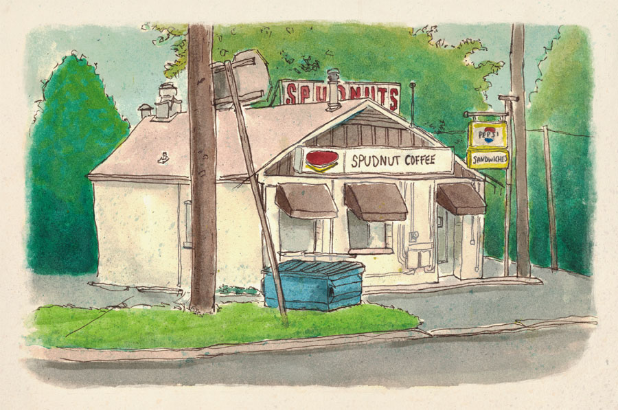 Sketchbook drawing of Spudnuts Donut and Coffee Shop, Charlottesville, Virginia.