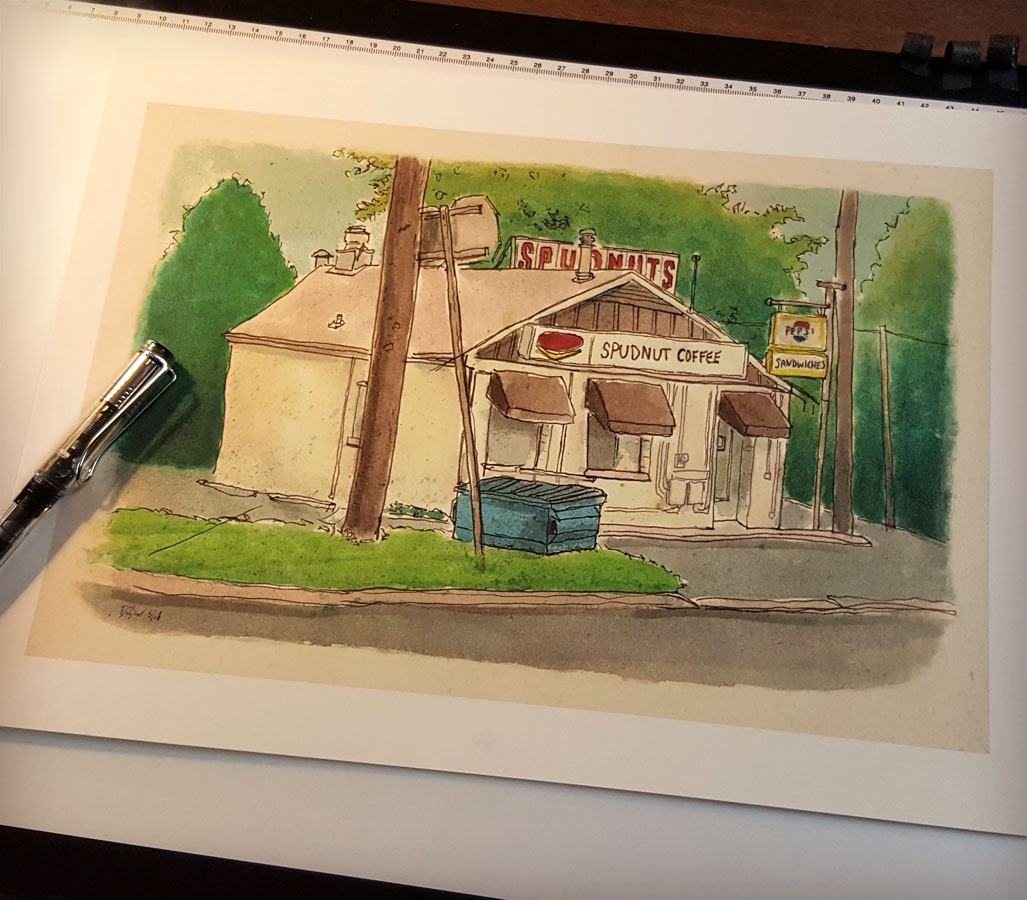 Signed print of my sketchbook drawing of Spudnuts Donut and Coffee Shop, Charlottesville, Virginia.