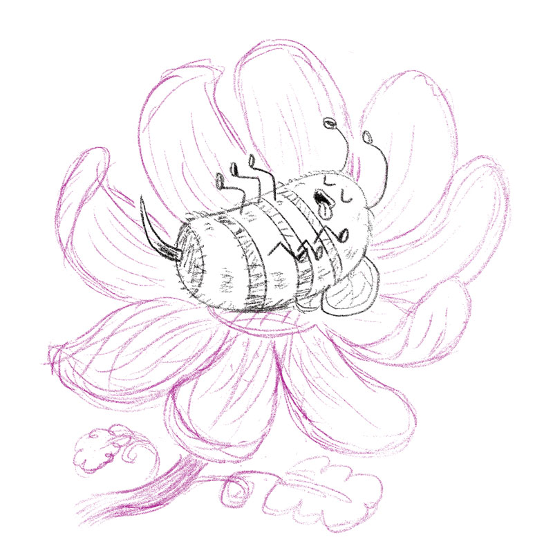 Blissful Bumblebee sketch by Charlottesville illustrator Scott DuBar