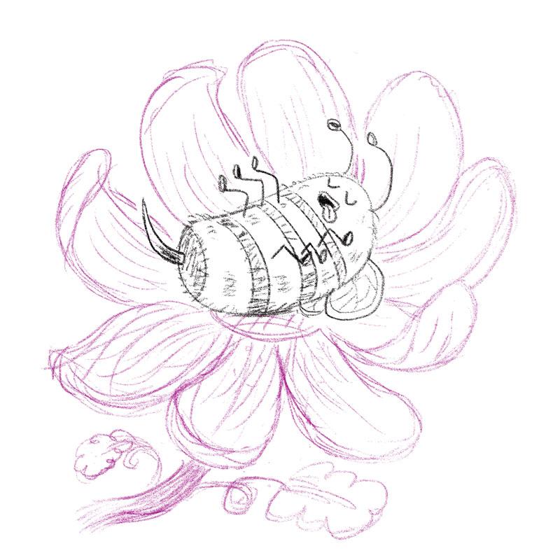 Blissful Bumblebee sketch by Charlottesville illustrator Scott DuBar