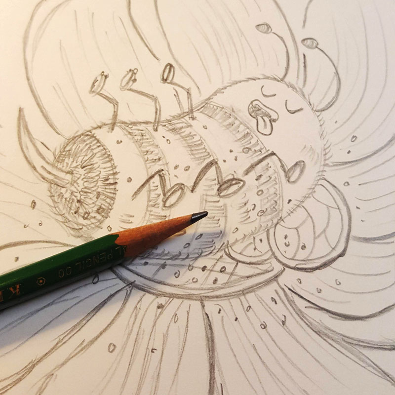 Blissful Bumblebee pencils by Charlottesville illustrator Scott DuBar