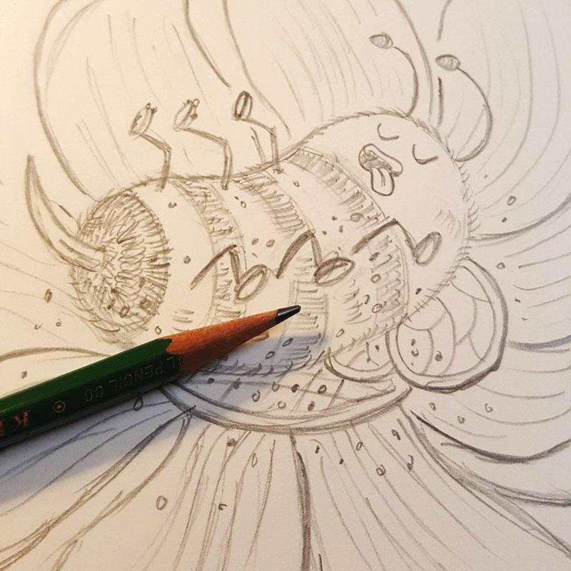 Blissful Bumblebee pencils by Charlottesville illustrator Scott DuBar