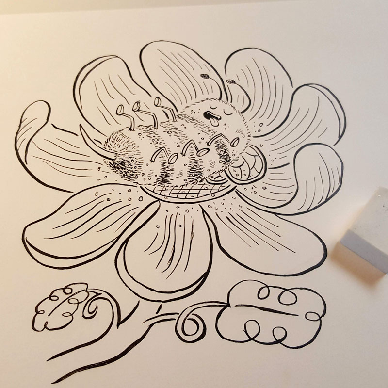 Blissful Bumblebee inked by Charlottesville illustrator Scott DuBar