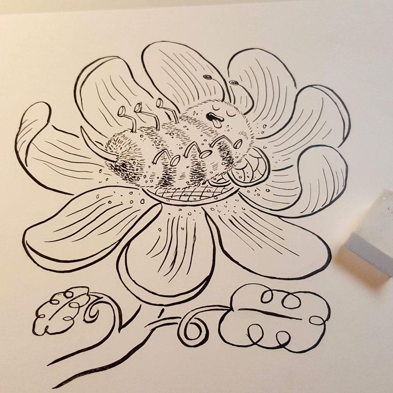 Blissful Bumblebee inked by Charlottesville illustrator Scott DuBar