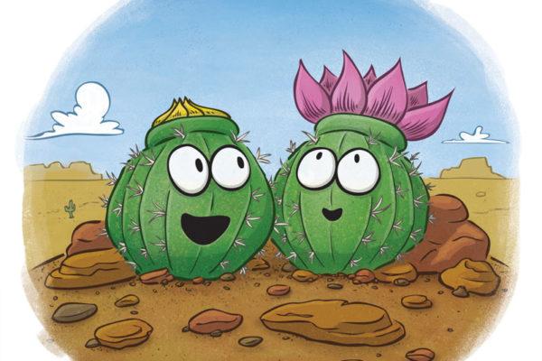 Cute cactus blooming in the desert. Illustration by Scott DuBar