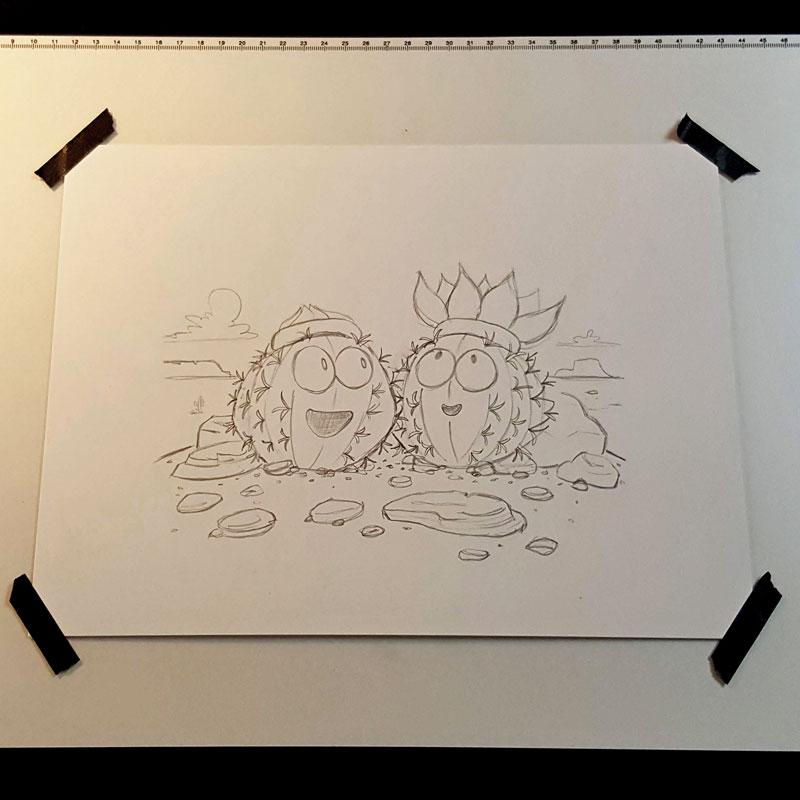 Cactus Bloom Sketch