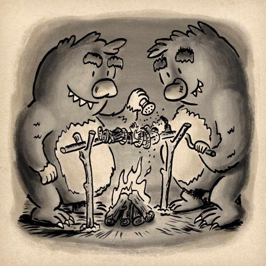 Roasted   Inktober Day 3 by illustrator Scott DuBar