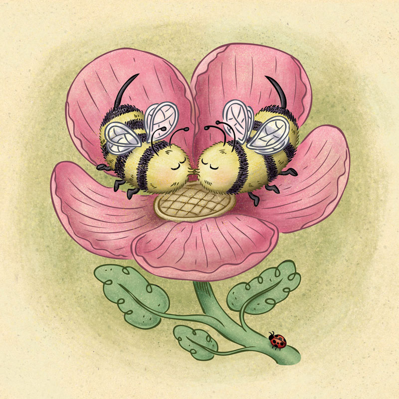 Two cute bees sharing a kiss inside a Spring flower.