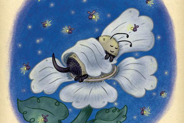 Cute bee spends the night sleeping on a flower under the glow of flickering fireflies.