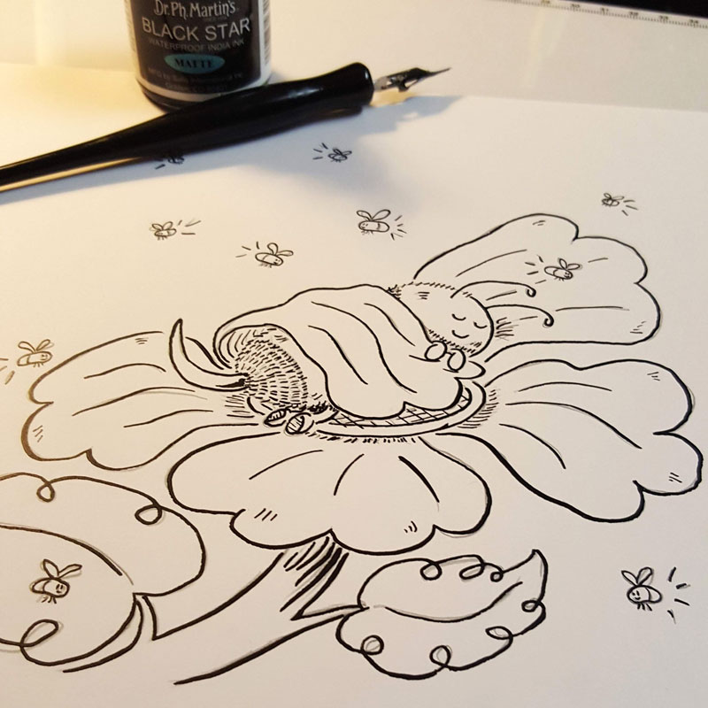 Sleeping bee spends the night on a flower under the glow of flickering fireflies. 52-Week Drawing Challenge