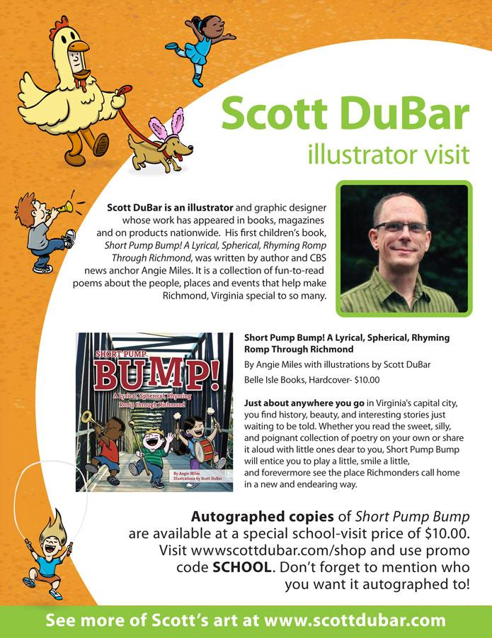 School visit flyer for children's book illustrator Scott DuBar.