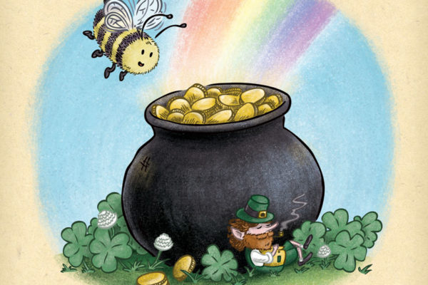 Bee finds a leprechaun and his pot of gold at the end of the rainbow. 318bdd17d28