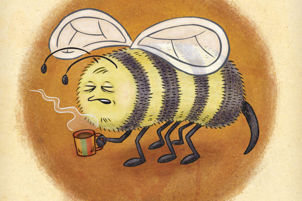 Sleepy bee prepares for a busy day with a fresh cup of coffee.
