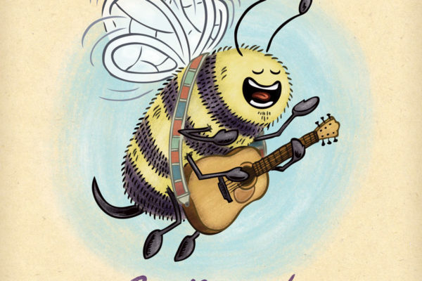 Bee sings and plays accoustic guitar.