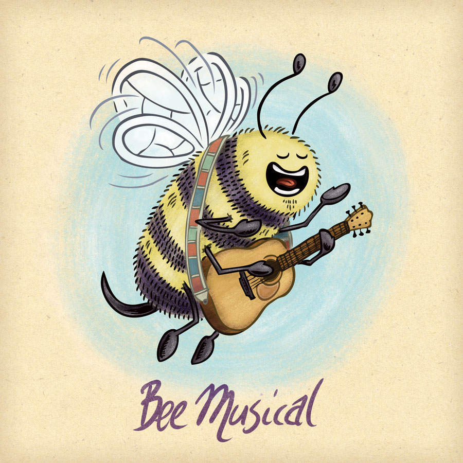 Musical bee sings and plays acoustic guitar.