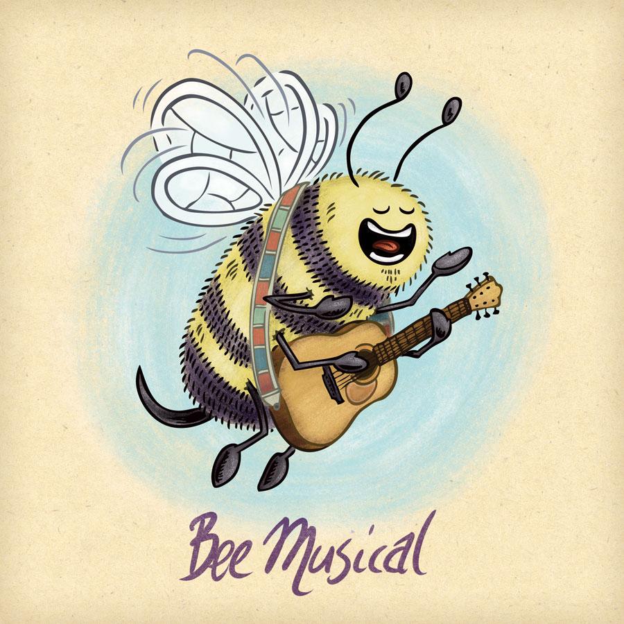 Musical bee sings and plays acoustic guitar.