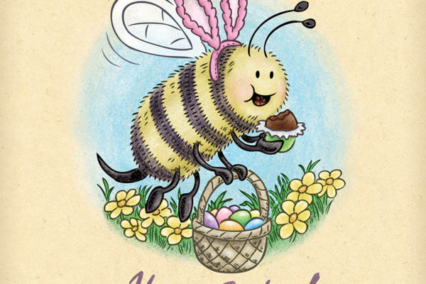 Bee wearing pink bunny ears celebrates Easter eating a basket of chocolate eggs.