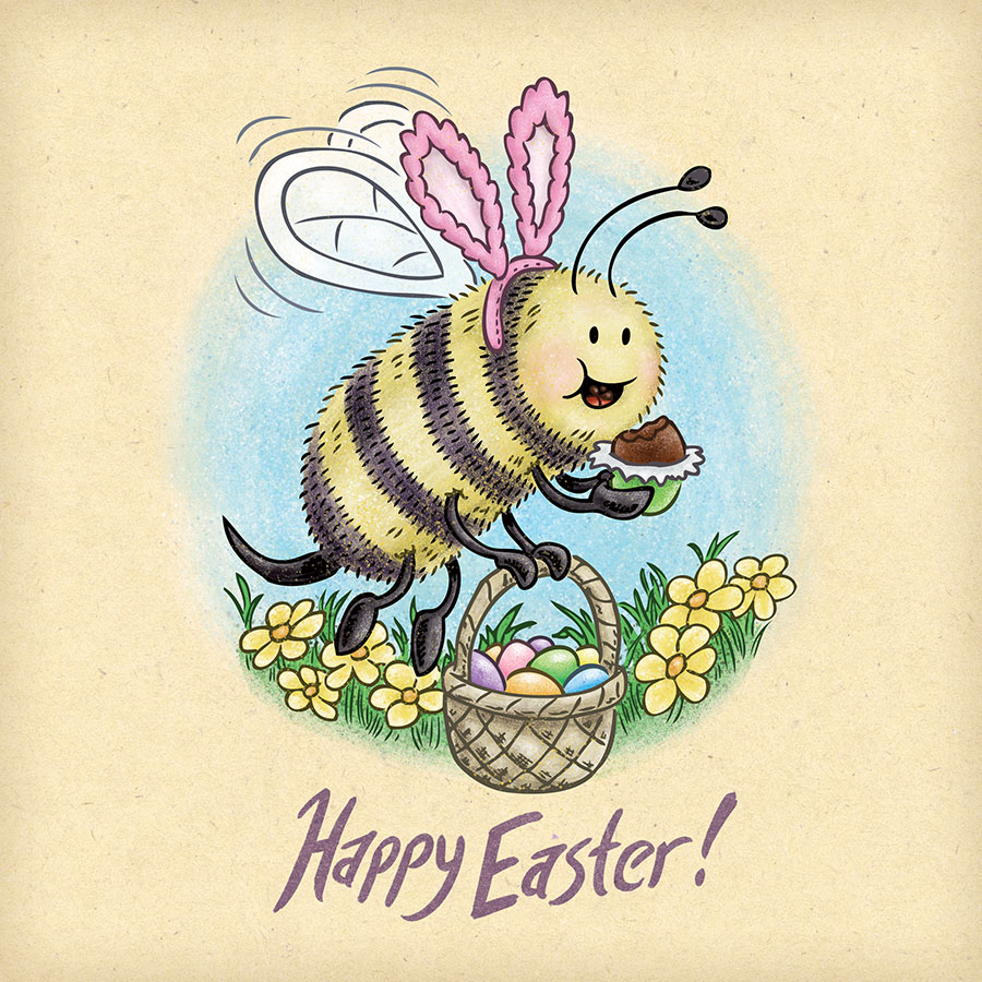 Happy Easter bee with pink bunny ears eating a chocolate Easter egg.