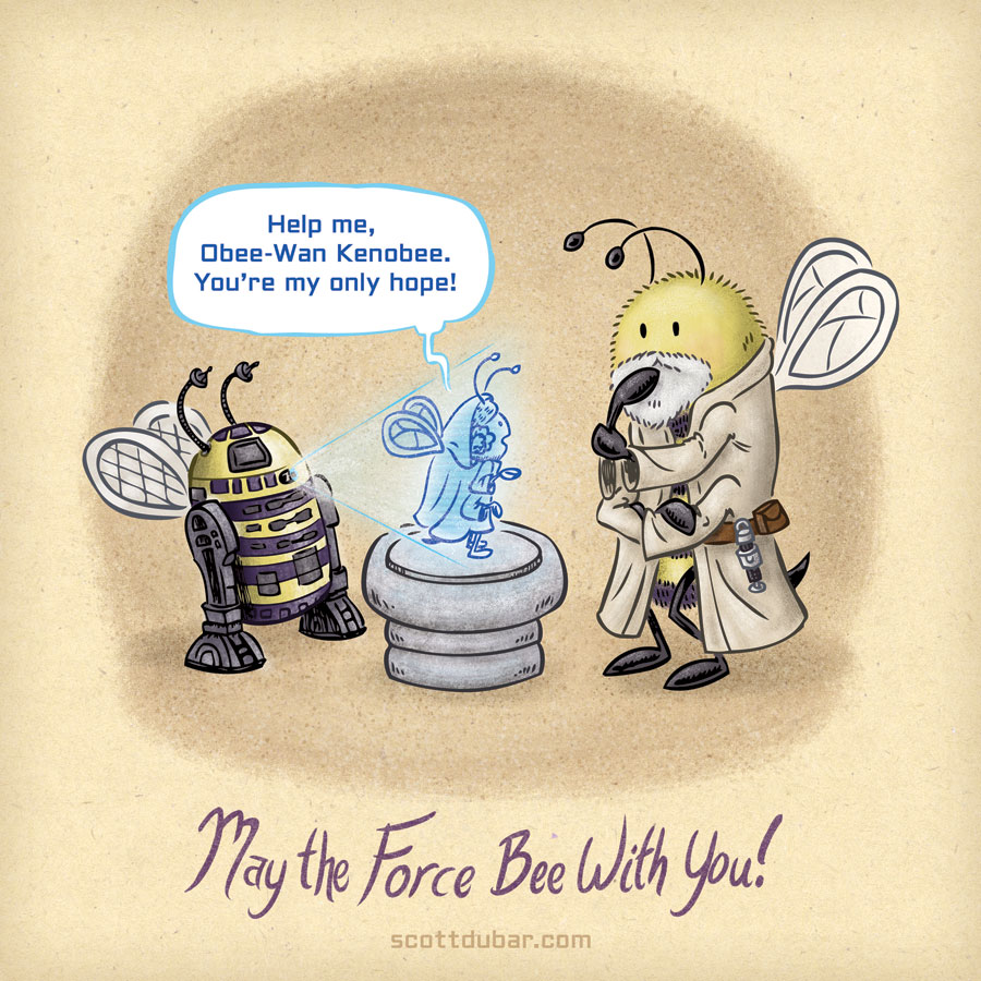 R2-Bee2 delivers a message to Obee-Wan in this Star Wars themed bee cartoon.