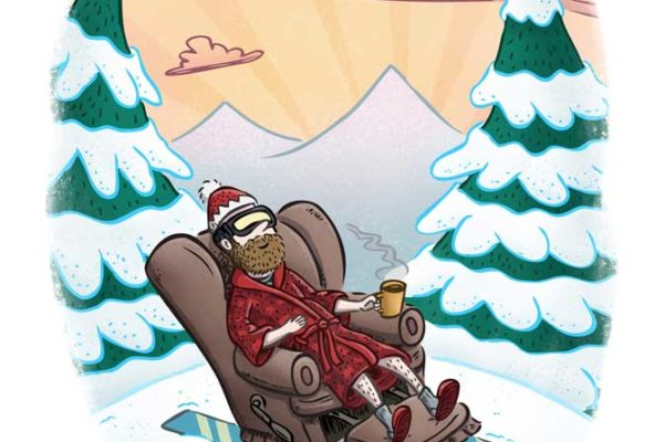 Avid skiing enthusiast relaxes in the pleasant bliss of his average skiing skills. Illustration by Scott DuBar.