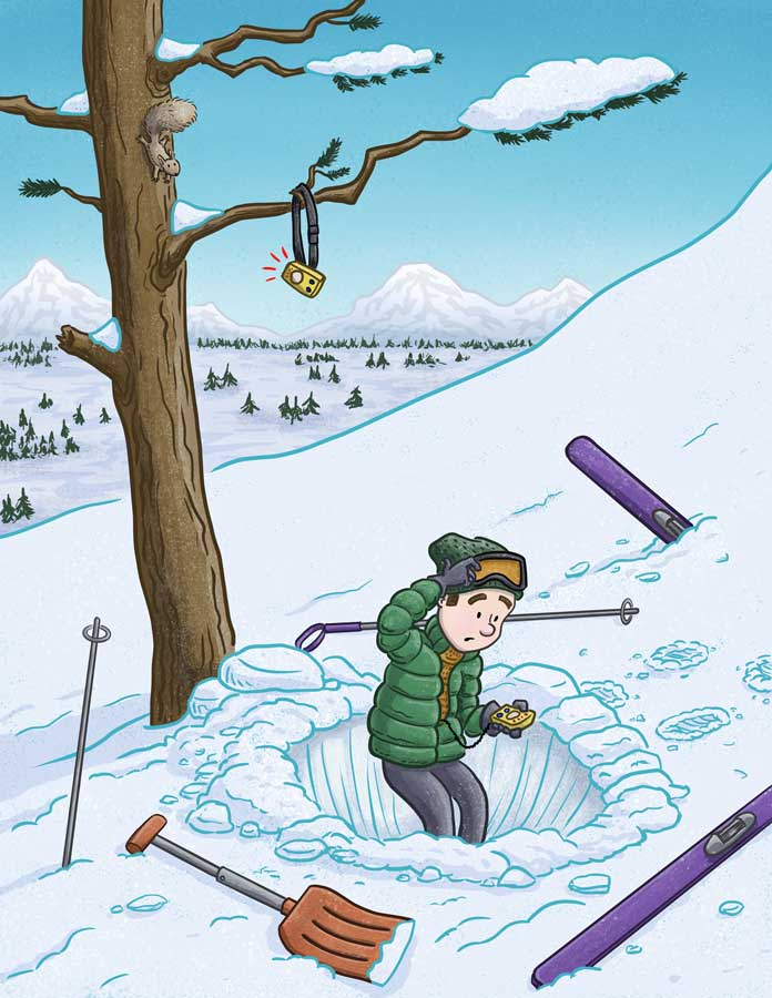 Look Up! Skier taking an avalanche rescue course has trouble finding where the instructor hid the avalanche beacon as a squirrel looks on. Editorial illustration by Scott DuBar.